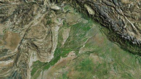 Photo pour Punjab, province du Pakistan. Imagerie satellite. Forme tracée contre sa zone de pays. rendu 3D - image libre de droit