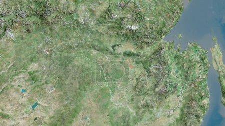 Photo pour Amour, région de Russie. Imagerie satellite. Forme tracée contre sa zone de pays. rendu 3D - image libre de droit