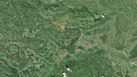 Photo pour Spodnjeposavska, région statistique de Slovénie. Imagerie satellite. Forme tracée contre sa zone de pays. rendu 3D - image libre de droit