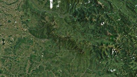 Photo pour Maramures, comté de Roumanie. Imagerie satellite. Forme tracée contre sa zone de pays. rendu 3D - image libre de droit