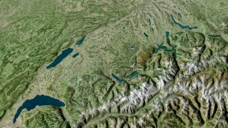 Photo for Bern, canton of Switzerland. Satellite imagery. Shape outlined against its country area. 3D rendering - Royalty Free Image
