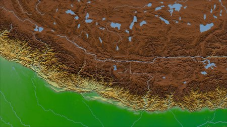 Photo for Nepal. Close-up perspective of the country - no outline. color physical map - Royalty Free Image