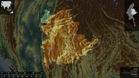 Photo pour Shan, État du Myanmar. Relief coloré avec lacs et rivières. Forme présentée contre sa zone de pays avec des superpositions informatives. rendu 3D - image libre de droit