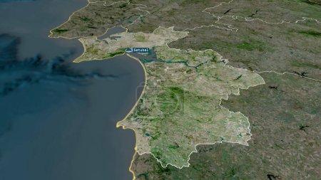 Photo pour Setubal- district du Portugal zoomé et mis en évidence avec la capitale. Imagerie satellite. rendu 3D - image libre de droit