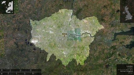 Photo pour Londres, région du Royaume-Uni. Imagerie satellite. Forme présentée contre sa zone de pays avec des superpositions informatives. rendu 3D - image libre de droit