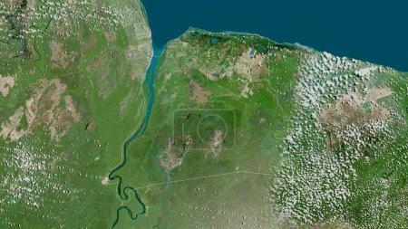 Photo pour Nickerie, district du Suriname. Imagerie satellite. Forme tracée contre sa zone de pays. rendu 3D - image libre de droit
