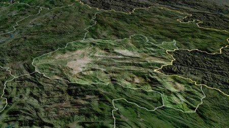 Photo pour Xiangkhoang - province du Laos zoomé et mis en évidence. Imagerie satellite. rendu 3D - image libre de droit