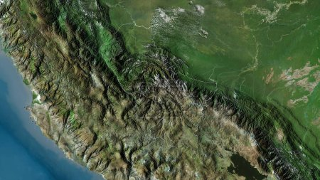 Photo for Cusco, region of Peru. Satellite imagery. Shape outlined against its country area. 3D rendering - Royalty Free Image