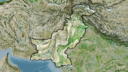 Photo for Pakistan area on the satellite D map in the stereographic projection - raw composition of raster layers with dark glowing outline - Royalty Free Image