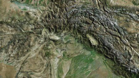 Photo for N.W.F.P., province of Pakistan. Satellite imagery. Shape outlined against its country area. 3D rendering - Royalty Free Image