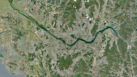 Photo pour Séoul, capitale métropolitaine de la Corée du Sud. Imagerie satellite. Forme tracée contre sa zone de pays. rendu 3D - image libre de droit