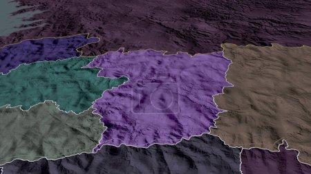 Photo pour Vila Real - quartier du Portugal zoomé et mis en évidence. Carte colorée et bosselée de la division administrative. rendu 3D - image libre de droit