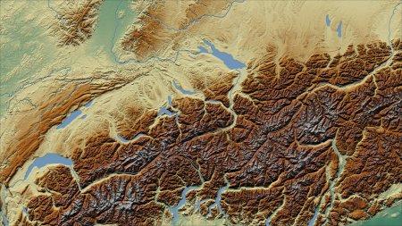 Suiza. Primer plano de la perspectiva del país - sin esbozo. mapa topográfico en relieve
