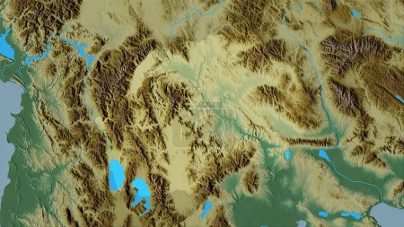 Photo for Macedonia area on the topographic relief map in the stereographic projection - raw composition of raster layers - Royalty Free Image