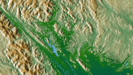 Photo for Tuyen Quang, province of Vietnam. Colored shader data with lakes and rivers. Shape outlined against its country area. 3D rendering - Royalty Free Image