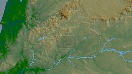 Photo pour Castelo Branco, district du Portugal. Données plus sombres colorées avec des lacs et des rivières. Forme tracée contre sa zone de pays. rendu 3D - image libre de droit