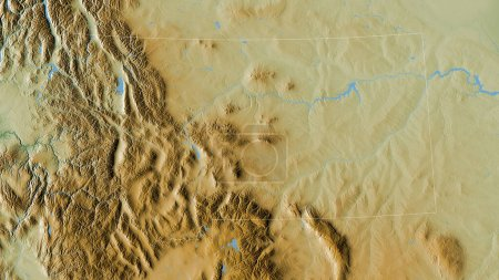 Photo for Montana, state of United States. Colored shader data with lakes and rivers. Shape outlined against its country area. 3D rendering - Royalty Free Image