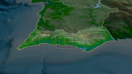 Photo pour Faro - quartier du Portugal zoomé et mis en évidence avec la capitale. Principales caractéristiques physiques du paysage. rendu 3D - image libre de droit