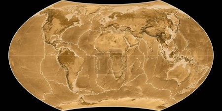 Photo for World map in the Wagner VIII projection centered on 11 East longitude. Sepia tinted elevation map - composite of raster with graticule and tectonic plates borders. 3D illustration - Royalty Free Image