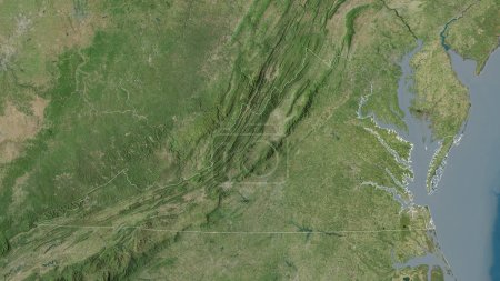 Photo for Virginia, state of United States. Satellite imagery. Shape outlined against its country area. 3D rendering - Royalty Free Image