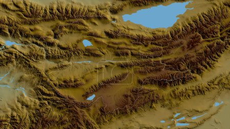 Photo for Naryn, province of Kyrgyzstan. Colored shader data with lakes and rivers. Shape outlined against its country area. 3D rendering - Royalty Free Image