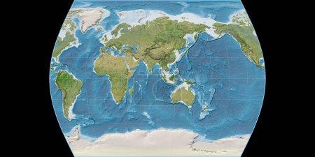 Photo pour Carte du monde dans la projection Times Atlas centrée sur 90 longitude est. Imagerie satellite B - composite brut de raster avec graticule. Illustration 3D - image libre de droit