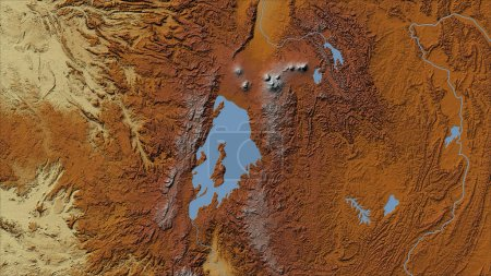 Photo for Rwanda. Close-up perspective of the country - no outline. topographic relief map - Royalty Free Image