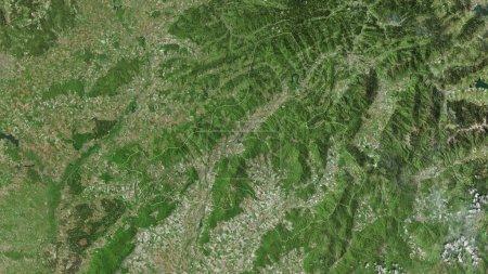 Photo pour Trenciansky, région de Slovaquie. Imagerie satellite. Forme tracée contre sa zone de pays. rendu 3D - image libre de droit