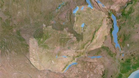 Photo for Zambia area on the satellite C map in the stereographic projection - raw composition of raster layers - Royalty Free Image