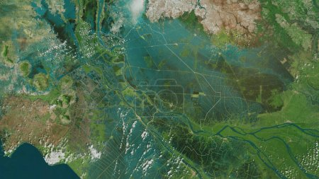 Photo for Dong Thap province of Vietnam. Satellite imagery. Shape outlined against its country area. 3D rendering - Royalty Free Image