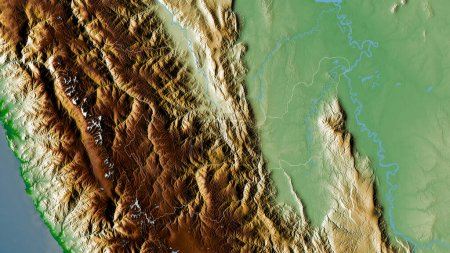 Photo for Huanuco, region of Peru. Colored shader data with lakes and rivers. Shape outlined against its country area. 3D rendering - Royalty Free Image