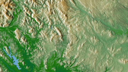 Photo for Bac Kan, province of Vietnam. Colored shader data with lakes and rivers. Shape outlined against its country area. 3D rendering - Royalty Free Image