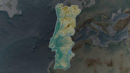 Photo pour Portugal zone élargie et rayonnante sur un fond sombre de son environnement. Carte de relief - image libre de droit