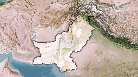 Photo for Pakistan area on the satellite C map in the stereographic projection - raw composition of raster layers with dark glowing outline - Royalty Free Image