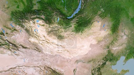 Photo for Mongolia area on the satellite C map in the stereographic projection - raw composition of raster layers - Royalty Free Image