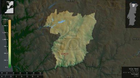 Photo pour Vila Real, district du Portugal. Données plus sombres colorées avec des lacs et des rivières. Forme présentée contre sa zone de pays avec des superpositions informatives. rendu 3D - image libre de droit
