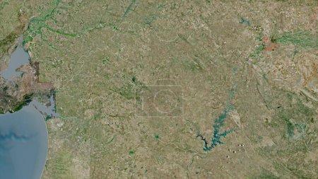 Photo pour Evora, district du Portugal. Imagerie satellite. Forme tracée contre sa zone de pays. rendu 3D - image libre de droit