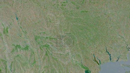 Photo pour Transnistrie, unité territoriale de Moldavie. Imagerie satellite. Forme tracée contre sa zone de pays. rendu 3D - image libre de droit
