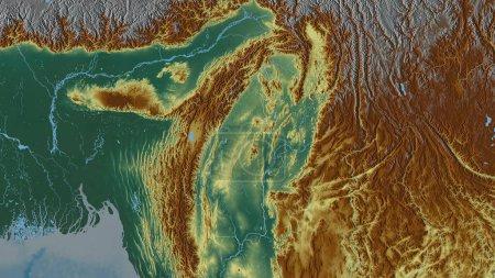 Photo pour Sagaing, division du Myanmar. Relief coloré avec lacs et rivières. Forme tracée contre sa zone de pays. rendu 3D - image libre de droit