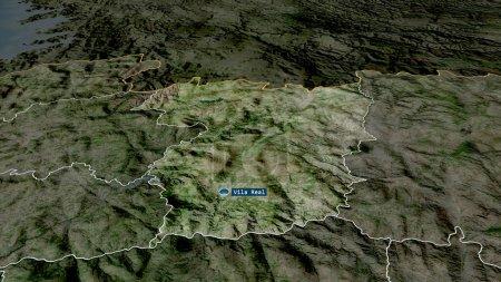 Photo pour Vila Real - quartier du Portugal zoomé et mis en évidence avec la capitale. Imagerie satellite. rendu 3D - image libre de droit