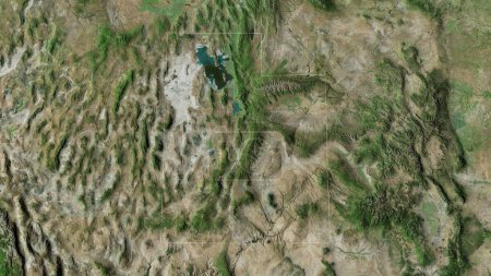 Photo for Utah, state of United States. Satellite imagery. Shape outlined against its country area. 3D rendering - Royalty Free Image