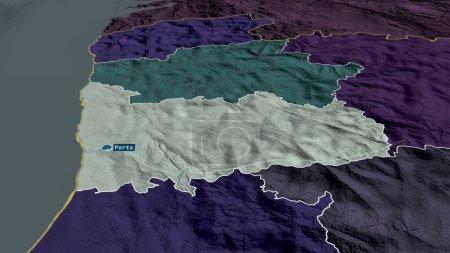 Photo pour Porto - quartier du Portugal zoomé et mis en évidence avec la capitale. Carte colorée et bosselée de la division administrative. rendu 3D - image libre de droit
