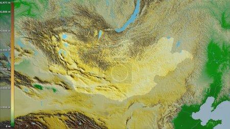 Photo pour Carte physique de la Mongolie dans la projection stéréographique avec légende - composition brute des couches matricielles - image libre de droit