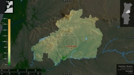 Photo pour Castelo Branco, district du Portugal. Données plus sombres colorées avec des lacs et des rivières. Forme présentée contre sa zone de pays avec des superpositions informatives. rendu 3D - image libre de droit