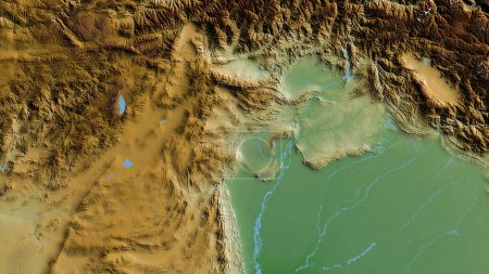 Photo for F.A.T.A., territory of Pakistan. Colored shader data with lakes and rivers. Shape outlined against its country area. 3D rendering - Royalty Free Image