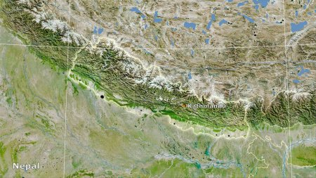 Photo for Nepal area on the satellite A map in the stereographic projection - main composition - Royalty Free Image