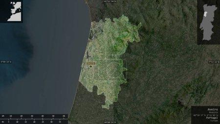 Photo pour Aveiro, district du Portugal. Imagerie satellite. Forme présentée contre sa zone de pays avec des superpositions informatives. rendu 3D - image libre de droit