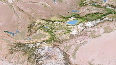 Photo pour Kirghizistan sur la carte C satellite dans la projection stéréographique - composition brute des couches raster - image libre de droit