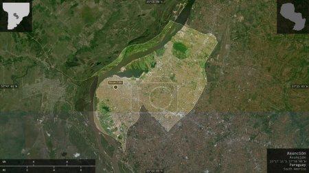 Photo pour Asuncion, capitale du Paraguay. Imagerie satellite. Forme présentée contre sa zone de pays avec des superpositions informatives. rendu 3D - image libre de droit