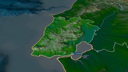 Photo pour Lisboa - quartier du Portugal zoomé et mis en évidence avec la capitale. Principales caractéristiques physiques du paysage. rendu 3D - image libre de droit